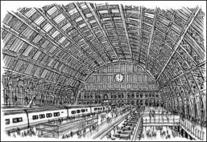 St Pancras Station, UK, by artist, Stephen Wiltshire, who is an autistic savant.